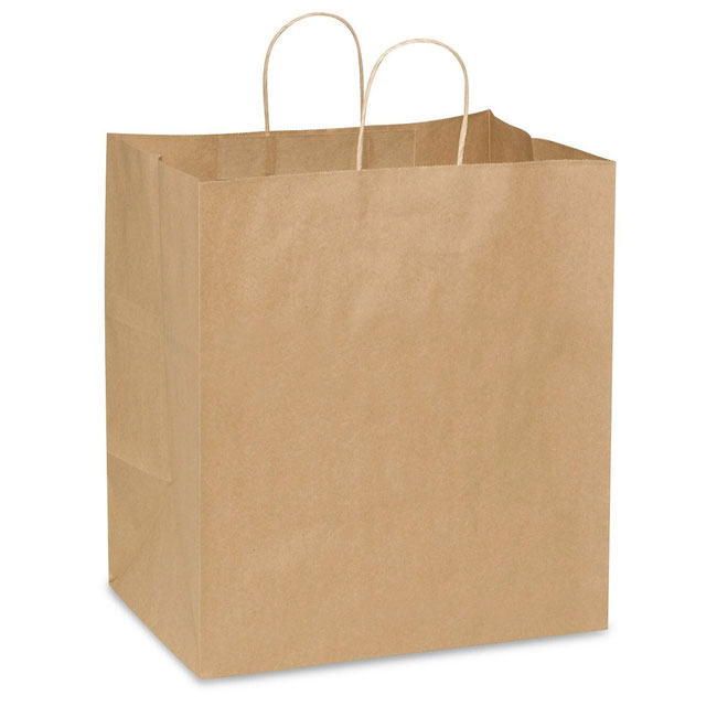 "Natural Kraft, Twisted Paper Handles - 14-1/2"" W x 9"" G x 16-1/4"" H"