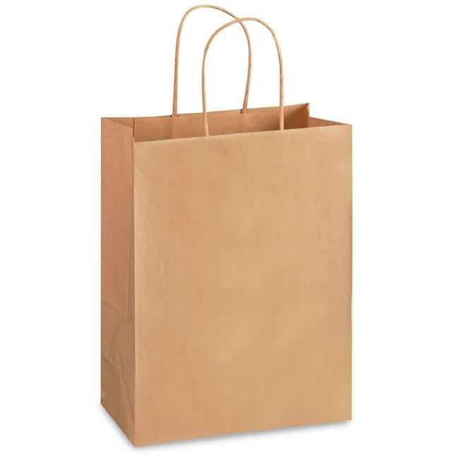 "Natural Kraft, Twisted Paper Handles - 8"" W x 4-3/4"" G x 10-1/4"" H"