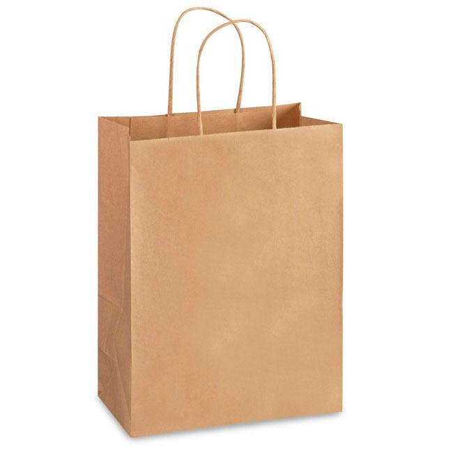 "Natural Kraft, Twisted Paper Handles - 10"" W x 5"" G x 13"" H"