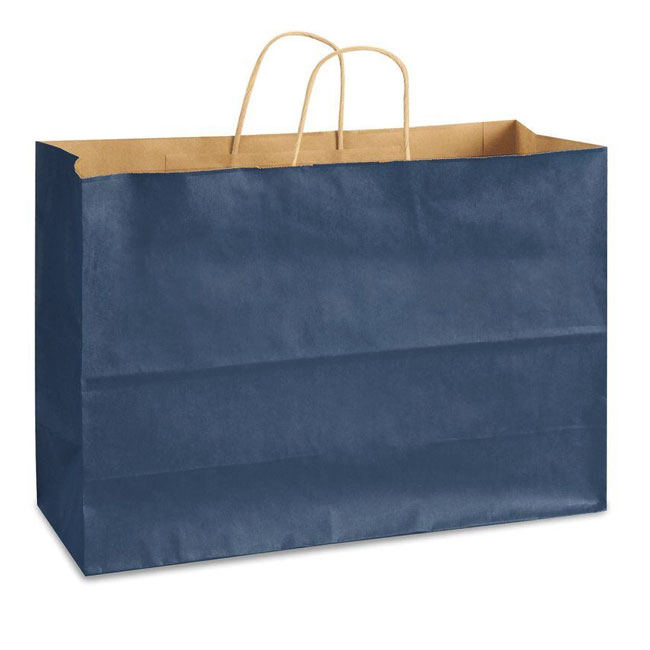 "Navy Blue Natural Kraft, Twisted Paper Handles - 16"" W x 6"" G x 12"" H"