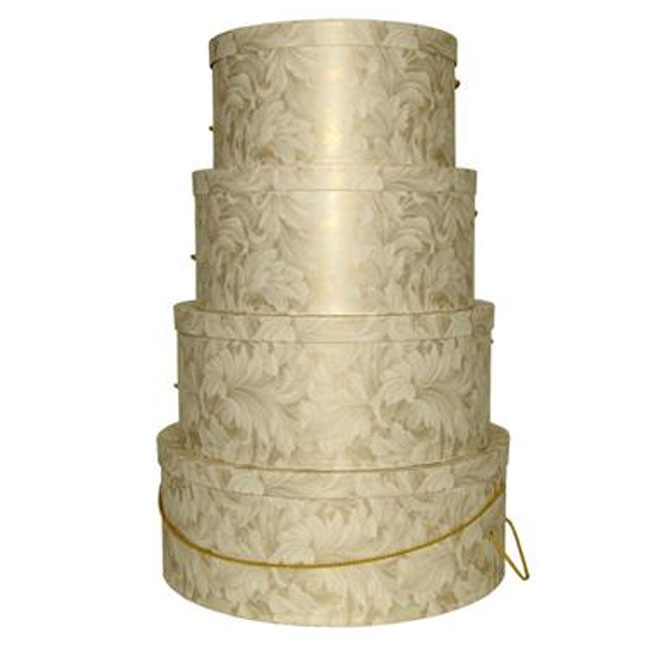Ivory and Gold Scroll Pattern - 4 Box Nest