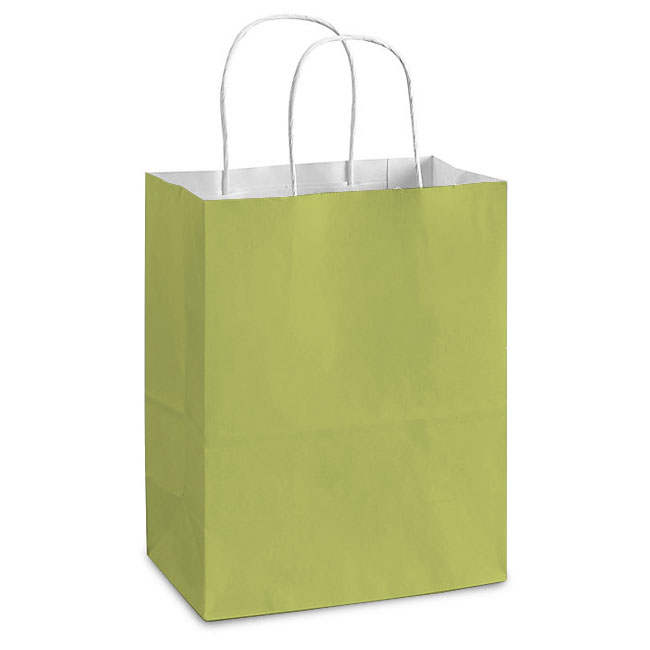 "Pistachio White Kraft, Twisted Paper Handles - 8"" W x 4-3/4"" G x 10-1/4"" H"