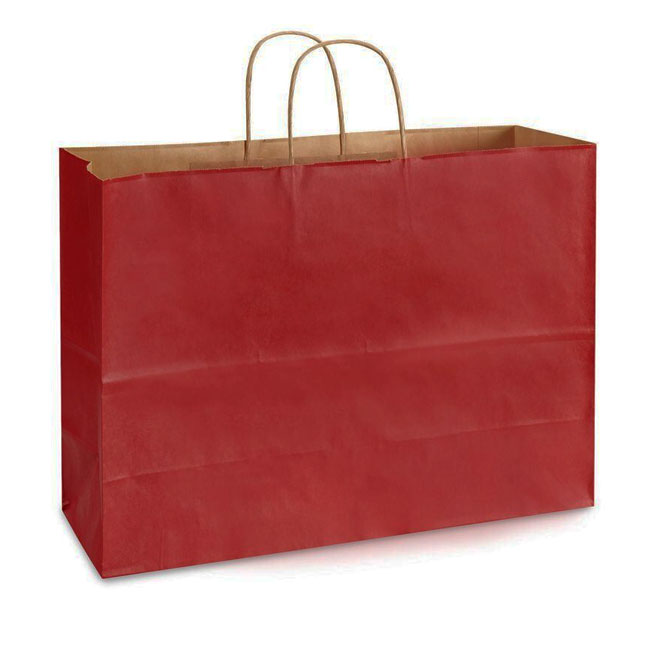 """Red Natural Kraft, Twisted Paper Handles - 16"""" W x 6"""" G x 12"""" H"""