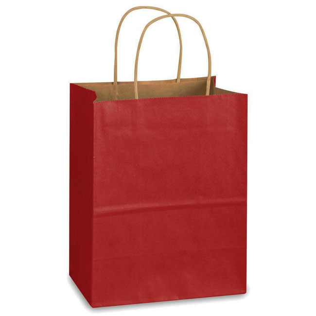 """Red Natural Kraft, Twisted Paper Handles - 8"""" W x 4-3/4"""" G x 10-1/4"""" H"""