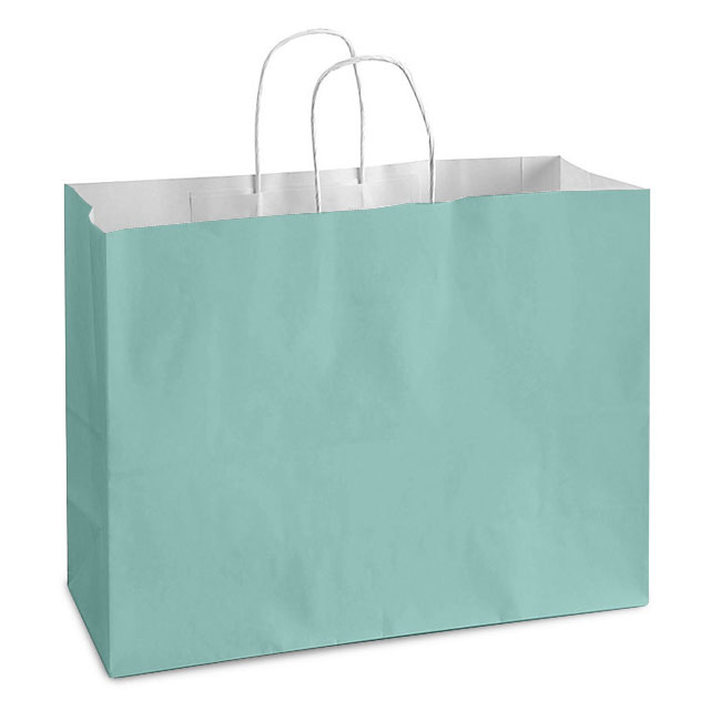 """Turquoise White Kraft, Twisted Paper Handles - 16"""" W x 6"""" G x 12"""" H"""