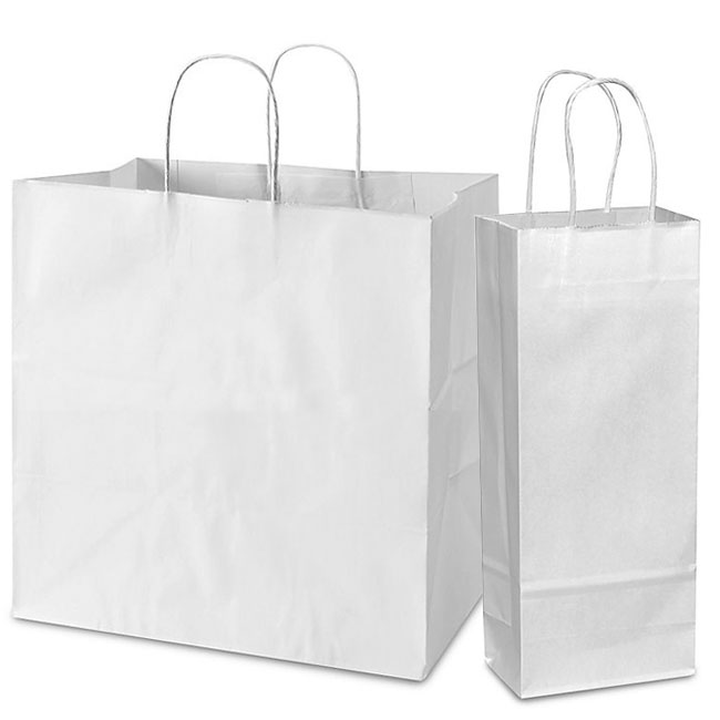 White Paper Shoppers, Twisted Paper Handles, Assorted Sizes