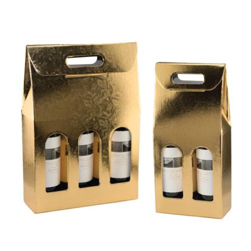 Italian Wine Bottle Carrier - Oro Lari, Metallic Gold Foil Patterned Design