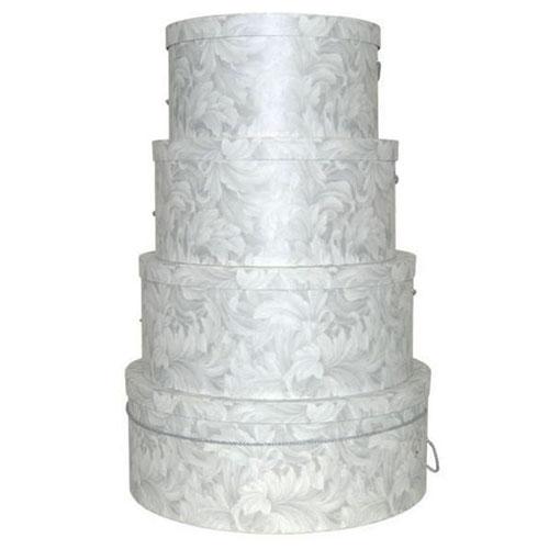Silver on White Scroll Pattern - 4 Box Nest