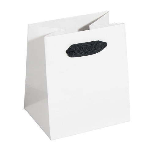 White Natural Finish Euro Tote Paper Ping Bags Black Twill Handles 4 Sizes