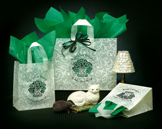 green and white bag, scrolls design, ivory and green